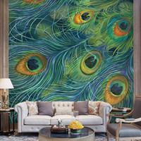 murales de pavo real al por mayor-Azul pavo real pluma 3d papel tapiz animal papel mural para el fondo del comedor 3d pared foto murales papel de pared 3d etiqueta