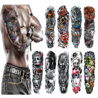Wholesale tatoo flashes for sale - Group buy Waterproof Temporary Tattoo Sticker Full Arm Large Skull Old School Tatoo Stickers Flash Fake Tattoos for Men Women
