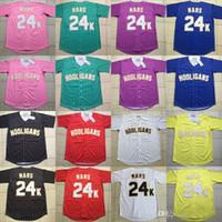jersey noir à rayures jaunes achat en gros de-Bruno Mars Maillot De Baseball 24K Hooligans Jaune Rouge Rose Pourpre Noir Blanc Bleu Vert Rayure Tous Stiched Pour Hommes Femmes Jeunes 24K Mars