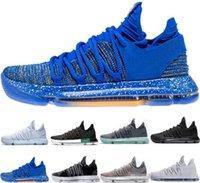kds basketbol ayakkabıları toptan satış-En kaliteli Doğru Sürüm Kevin Durant X kds 10s Gökkuşağı Kurt Gri KD10 FMVP Spor Spor ayakkabılar ABD 7-12 için 2018 KD 10 EP Basketbol Ayakkabı