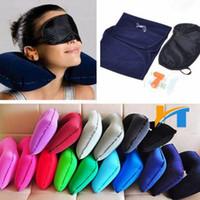 mascara inflable al por mayor-3 en 1 acampar al aire libre Coche Avión Kit de viaje hinchable cuello amortiguador de la almohadilla de apoyo + Eye Mask Shade Blinder + enchufes de oído EEA622