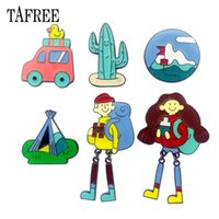 Wholesale china car resale online - Go Camping Brooches For Student Enamel Cactus Car Boy Girl Alloy Badge for Bag Hat Jeans Shirt Collar Clips Lapel Pins