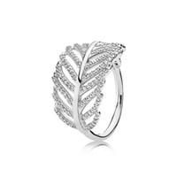 925 anel de pena de prata venda por atacado-925 Sterling Silver Feather LOGO de ANEL de LOGOTIPO Caixa Original para Pandora Engagement Jóias CZ Anéis de Cristal de Diamante para As Mulheres Meninas