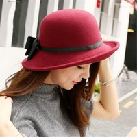 f15d54f70de 2019 New Bucket Hat Women s Crushable Wool Felt Outback Hat Panama Wide Brim  with Bow Chapeau Sombrero