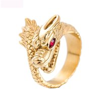 Wholesale china dragon color resale online - Fashion dragon jewelry rings vintage titanium steel ring rectangle red gemstone titanium steel ring gold color jewel ring