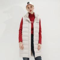 weiße damenwesten großhandel-Winter 2019 neue High-End-Frauenkleidung, Modebriefe, bedruckte Weste, Damenqualität, weißer Entensamt, ärmellose Damen