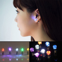 BRELONG LED Earring Light Up Crown Glowing Crystal Stainless Ear Drop Ear Stud Earring Jewelry for Dance Xmas KTV Party Women Girl