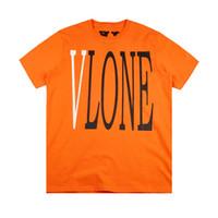ingrosso uomini arancioni-Maglietta del progettista degli uomini di Vlone Maglietta degli uomini di Vlone degli amici Maglietta nera di alta qualità Maglietta arancione bianca Tees Taglia S-XL