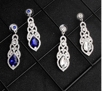 Wholesale free romantic sexy dresses for sale - Group buy 2020 Sexy Royal Blue Sliver Rhinestones Wedding Earrings For Bride Jewelry High Quality Designer For Prom Evening Dress