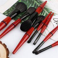 Wholesale red eyeshadow powder resale online - 8 Makeup Brush Set Powder Foundation Brushes Eyeshadow Eyebrow Blush Cosmetic Brushes Make Up Tools