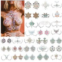 Wholesale decor gems resale online - Jewel Adhesive Gems Chest Tattoo Sticker Face Neck Chest Gems Wedding Party Body Boobs Makeup Tools Charm Sexy Decor Sticker