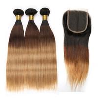 cabelo humano 27 venda por atacado-1B 4 27 Ombre Feixes de Cabelo Humano Com Fechamento Feixes de Cabelo Reto Malaio Com 4X4 Fechamento Rendas Extensão Do Cabelo Remy Beyo