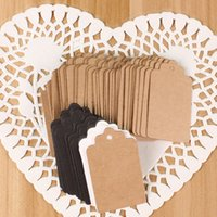 Wholesale christmas kraft gift tags resale online - 100Pcs Kraft Paper Wedding Hang Tag Gift Tags Lace Scallop Head Label Price Tags Flower Cosmetics Labels Wedding Birthday Party