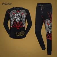 calças pretas longas venda por atacado-Design de moda Homens Crânio Tee Preto Manga Longa T-shirt + Calças Treino Outono Marca Roupas Set