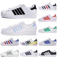 super fashion hommes achat en gros de-2020 original Super star blanc irisé Hologram junior Superstars Chaussures Casual Super Star Femmes Hommes Femmes Mode Cuir Taille chaussures 36-45