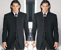 ingrosso sposo tuxedo argento bianco nero-Groomsmen Smoking smoking nero / bianco Mandarin risvolto Best Men sposo matrimonio / ballo / abiti da sera (giacca + pantaloni + cravatta + gilet) Custom Made