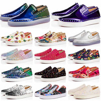 Wholesale black white cream wedding resale online - Luxury Sneakers Red Bottom shoe Low Cut Suede spike Brand Shoes For Men Women Shoes Party Wedding crystal Leather Sneakers
