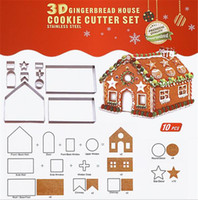 Wholesale 3d cookies resale online - New Bar D Gingerbread house Stainless Steel Christmas Scenario Cookie Cutters Set Biscuit Mold Fondant Cutter Baking Tool