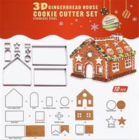 bisküvi kurabiye kesici seti toptan satış-Yeni Bar 3D Gingerbread evi Paslanmaz Çelik Noel Senaryo Çerez Kesiciler Set Bisküvi Kalıp Fondan Kesici Pişirme Aracı