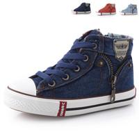 kız fermuar kot toptan satış-Size25 ~ 37 Çocuk Ayakkabıları Çocuk Tuval Sneakers Erkek Kız Denim Jeans Kız Boots Flats Fermuar Ile Yüksek top Ayakkabı Csh245 Y190525