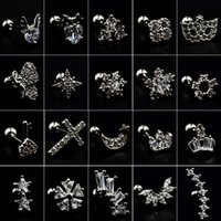5c00883d5 1Pcs Surgical Steel Crystal Different Flower Ear Tragus Cartilage Helix  Earring Ear Studs Body Piercing Jewelry New Lip Ring 20g