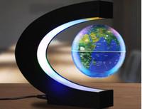 aprender c venda por atacado-Forma C levitação magnética Geografia Globo Floating World Map Tellurion LED Light Terrestre Crianças aprendizagem brinquedos Globe Antigravity Magia