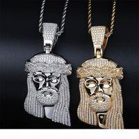 Wholesale white jesus piece resale online - Hip Hop CZ Zircon Stone Paved Bling Iced Out Big JESUS Piece Pendants Necklace for Men Rapper Jewelry Gold Silver Necklace
