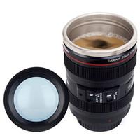 frascos de té al por mayor-Creativa de la lente de la cámara de acero inoxidable en forma de tazas de café taza de té de viajes frascos de vacío con la tapa Año Nuevo regalos Recipientes