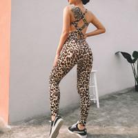 ropa deportiva de leopardo al por mayor-GXQIL atractiva mujer de la gimnasia deportiva fitness leopardo Mono Volver Cruz fitness Ropa Chándal Ropa Imprimir rutina 2019