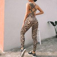 sportswear leopardo venda por atacado-GXQIL Sexy mulher na ginástica Sportswear Leopard aptidão Jumpsuit Voltar Cruz de Fitness Moda Feminina Calça de roupa impressão Workout 2019