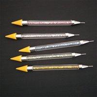 blauer wachsstift groihandel-Dual-Ended DIY Nagel-Bohrgerät-Pens Dot Wachsstift Frauen Nails Kunst-Werkzeug-Weiß, Gelb, Blau 5 3hp