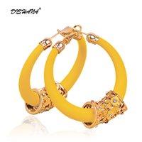 ingrosso orecchini di moda abbaglianti-Moda trendy Stunning Dazzling CZ cerchio di cristallo rotondo orecchini a cerchio per le donne gioielli color oro grande orecchino geometrico e0204-