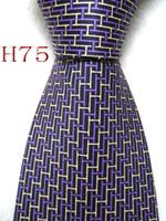 ingrosso cravatta nera gialla-Classico 100% JACQUARD WOVEN HANDMADE Mens Design Viola / Giallo / Nero color seta cravatta cravatta # 075