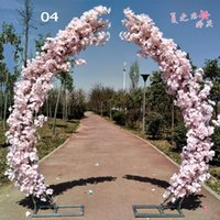 Wholesale led light resale online - 2 M artificial cherry blossom arch door road lead moon arch flower cherry arches shelf square decor for party wedding backdrop
