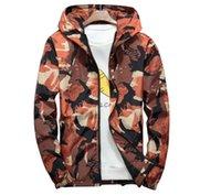 fermuar kapüşonlu ceket askeri toptan satış-İlkbahar Sonbahar erkek Ceketler Kamuflaj Askeri Kapüşonlu Mont Rahat Fermuar Erkek Rüzgarlık Erkekler Marka Giyim