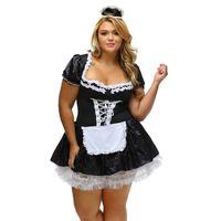 cadılar bayramı fransız fahişe kostümleri toptan satış-Seksi Fransız Hizmetçi Kostümü Cadılar Bayramı Cosplay Kostüm Karnaval Tema COS Üniforma Artı Süper Boyutu 4XL 6XL Klasik Fransız Hizmetçi Fantezi Elbiseler