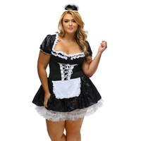 uniforme sexy l venda por atacado-Sexy Francês Traje Da Empregada Doméstica Halloween Cosplay Tema Carnaval Tema Uniforme COS Plus Size Super 4XL 6XL Clássico Francês Empregada Doméstica Vestidos Extravagantes