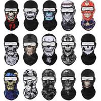 tam yüz airsoft taktik kafatası maskesi toptan satış-Taktik kafatası maskeleri airsoft kafatası tam yüz maskesi kış rüzgar geçirmez sıcak hayalet iskelet kaput eşarp bisiklet sürme kayak kamuflaj maskeleri korumak
