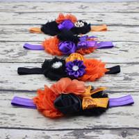 fitas de flores venda por atacado-Headbands do bebê Halloween Bow Headbands de flor Boutique Meninas Tiara de strass acessórios para o cabelo crianças Shabby Chiffon Hairbands RRA1985r
