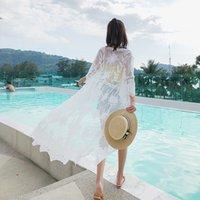 güneş kremi bluzlar toptan satış-Bohem Stili Kimono Uzun Hırka Kadınlar Çiçek Dantel Rahat Yaz Plaj Güneş Kremi Ince Bayanlar Gömlek Blusas Bluzlar