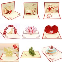 Wholesale 3d happy birthday greetings card resale online - 2019 Hot D Creative up Cards Valentine s Day Lover Happy Birthday Party Invitation Folding Type New D Stereo Greeting Card