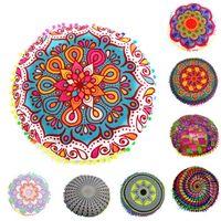 indische blumen großhandel-Neues Design Multicolor Indian Mandala blaue Blume Boden Kissen Runde böhmische Kissen Kissen Kissenbezug Fall #XT Kissenbezug