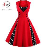 2aecdfddb89 S-4XL Women Robe Retro Vintage Dress 50s 60s Rockabilly Dot Swing Pin Up  Summer Party Dresses Elegant Tunic Vestidos Casual