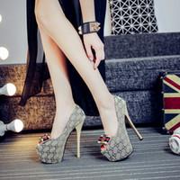 женщины 16 см каблуки оптовых-Классический сексуальный 16 см рыбий рот водонепроницаемый платформа тонкий каблук Обувь женская мода высокие каблуки G обувь девушки мода дизайн обувь