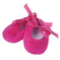 обувь для младенцев оптовых-Cotton fabric Hot pink Kids First Walkers Baby Bowknot Solid Newborn Cloth Shoes chaussure fille #YL5