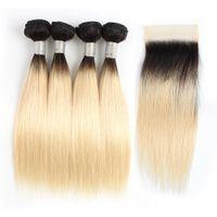 бразильские человеческие волосы оптовых-Ombre светлые прямые волосы пучки с закрытием 1B 613 темные корни 50 г / пучок 10-12 дюймов 4 пучка бразильский реми человеческих волос