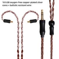 kablo olayı toptan satış-FDBRO MMCX 8 Çekirdekler OCC Gümüş Kaplama Kulaklık Kablo Kulaklık Konektörü 3.5 / 2.5 / 4.4mm Dengeli 8 Çekirdekli Kaplama Gümüş Kablo Kulak