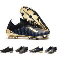 zapato de crampones al por mayor-Nuevo Laceless X 19 + FG Zapatillas de deporte para hombre Zapatos de fútbol Botines Dark Script 302 Paquete de redireccionamiento Azul marino Negro Crampones De Botas de fútbol Zapatillas de diseñador