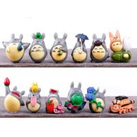 ingrosso mini figurine-PrettyBaby Anime Cartoon Il mio vicino Totoro Lovely Mini PVC Figure Giocattoli Bambole Giocattoli per bambini Regali Zakka Figurine Resine Spedizione gratuita