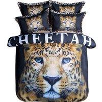 jogo de quarto moderno rei venda por atacado-3d Animal Print Cheetah Conjunto de Cama Gêmeo Rainha King Size Capas de Edredão de Algodão Lençóis Fronha Quarto Moderno Têxteis